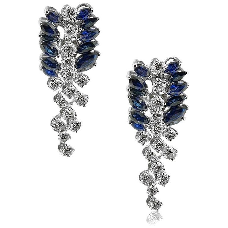 Marquise Cut Sapphire and Brilliant Cut Diamond Earrings