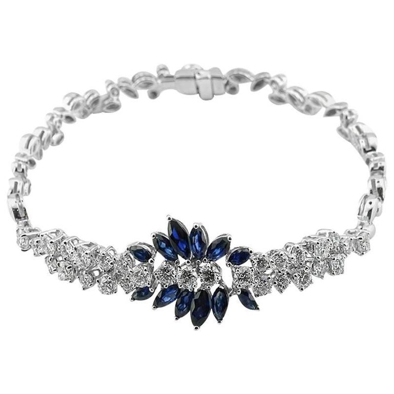 White Gold Marquise Cut Sapphire and Brilliant Cut Diamond Bracelet