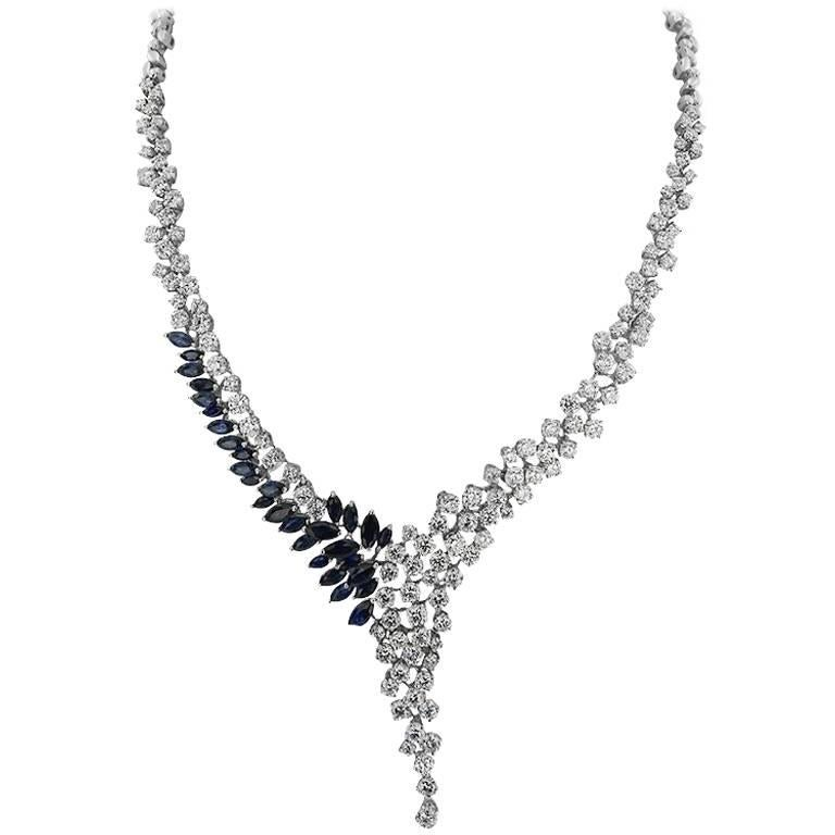 White Gold Marquise Cut Sapphire and Brilliant Cut Diamond Necklace