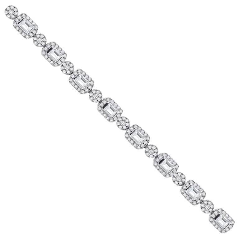Hrd Certified White Gold Emerald And Round Cut Diamond Bracelet For