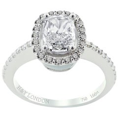 HRD Certified White Gold Cushion and Round Cut Engagement Ring