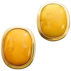 Helmut Laich a Pair of Large Modern Butterscotch Amber Gold Earrings