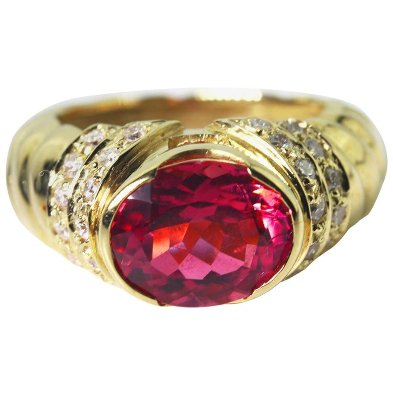 4 Carat Pinky Red Tourmaline Diamond 18kt Gold Cocktail/Dinner Ring