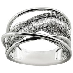 White Gold Large Cocktail Ring with Brilliant Cut Diamonds
