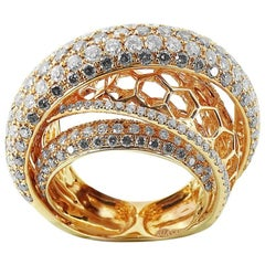 Rose Gold Cocktail Ring with Brilliant Cut Diamonds