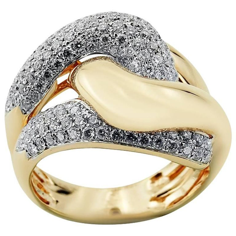 White and Rose Gold Zigzag Ring with Brilliant Cut Diamonds