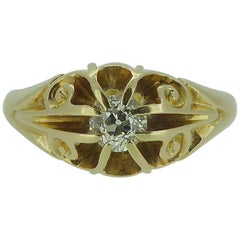 0.25 Carat Antique Diamond Solitaire Ring, 18 Carat Gold, Hallmarked Chester