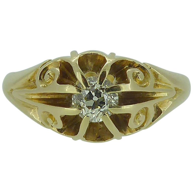 0.25 Carat Antique Diamond Solitaire Ring, 18 Carat Gold, Hallmarked Chester