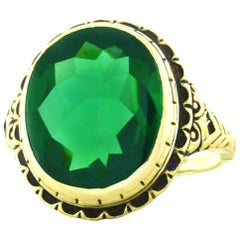 Art Deco Green Tourmaline Signet Style Gold Ring