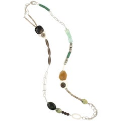 Autumnal Gemstone and Sterling Silver Necklace