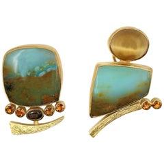 Gold and Peruvian Opal Earrings