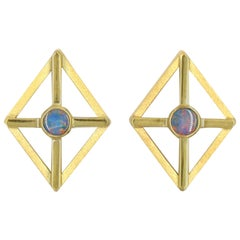 Gold and Opal on Mother-of-Pearl Earrings