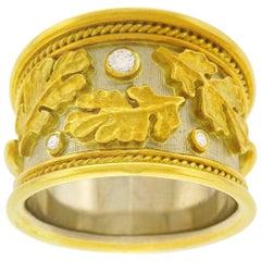 Elizabeth Gage Diamond Set Gold Ring