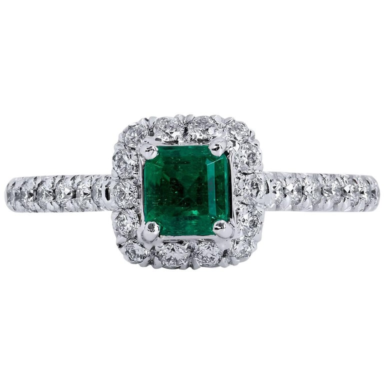 H & H 0.50 Carat Colombian Emerald and Diamond Pave Cocktail Ring