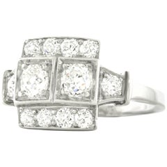 Lambert Bros. Art Deco Diamond Set Platinum Ring