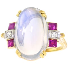 Art Deco F. & F. Felger Moonstone, Ruby and Diamond Ring