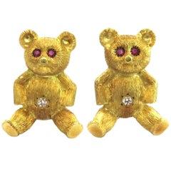 Teddy Bear Ruby Diamond Gold Cufflinks