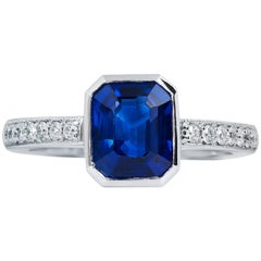 GIA Certified 2.35 Carat Madagascar Blue Sapphire and Diamond Pave Platinum Ring