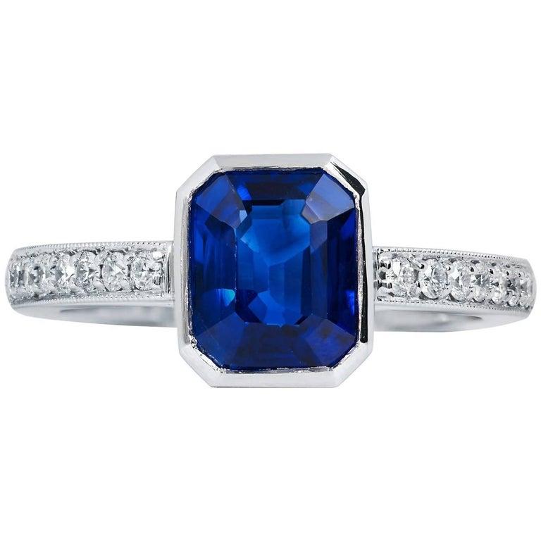 H & H 2.35 Carat Madagascar Blue Sapphire and Diamond Pave Fashion Ring
