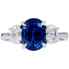 H  & H 2.60 Carat Oval Blue Sapphire Fashion Ring