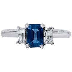 H & H 1.28 Carat Emerald Cut Blue Sapphire Fashion Ring