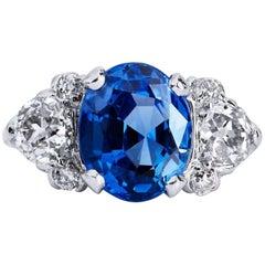 H & H 3.65 Carat Ceylon Sapphire and Old Mine Cushion Cut Diamond Ring