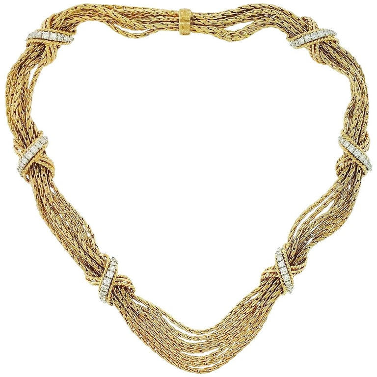 "Vintage Diamond ""X"" Multi-Strand Choker Necklace in Yellow Gold"