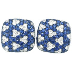 Italian Sapphire and Diamond Pave Earrings-Square Geometric Design