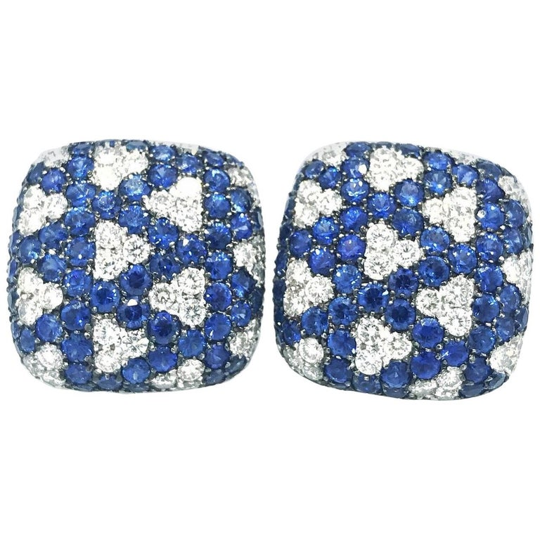 Italian Sapphire and Diamond Pave Earrings-Square Geometric Design
