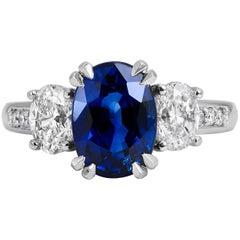 H & H 3.55 Carat Oval Madagascar Blue Sapphire and Oval Diamond Fashion Ring