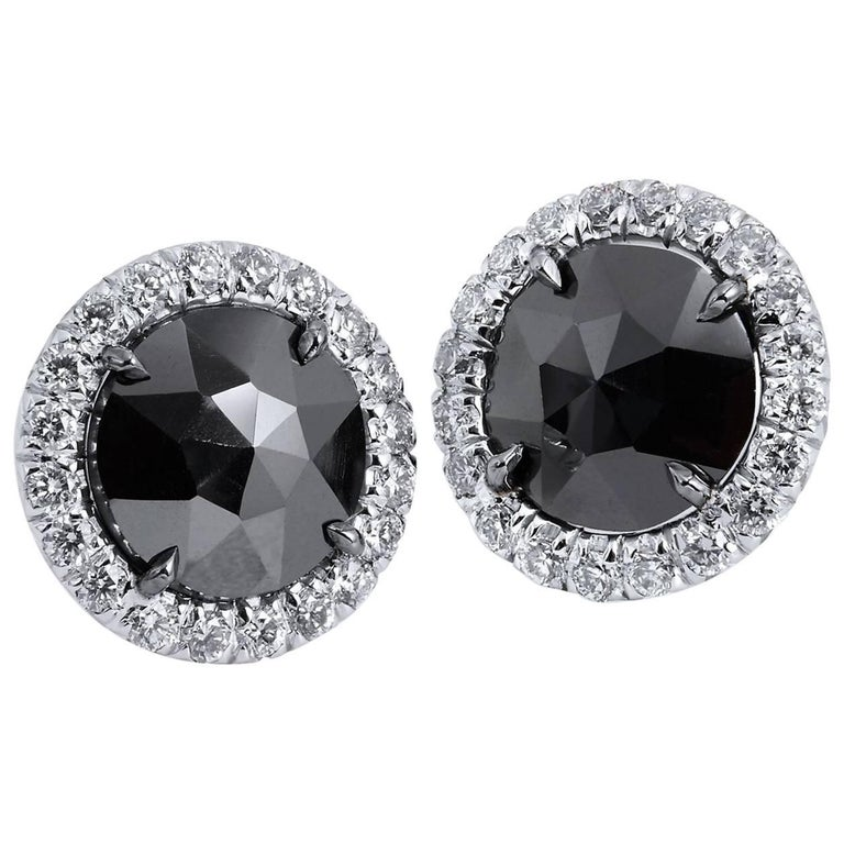 H & H 1.42 Black Diamond Stud Earrings