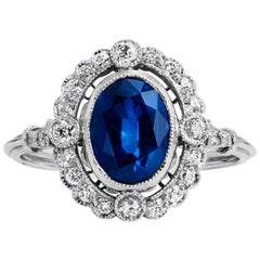 GIA Certified 1.94 Blue Thai Oval Sapphire and Diamond Platinum Ring Size 6