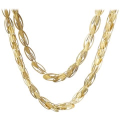 1990s Carla Riccoboni 'Alphabet' Postmodernist Modular Gold Long Chain Necklace