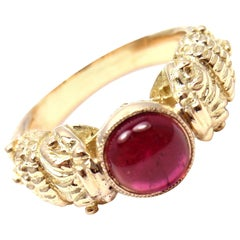 Zolotas Greece Pink Tourmaline Yellow Gold Band Ring
