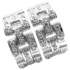 Cartier Maillon Panthere Three-Diamond Paved Rows White Gold Earrings