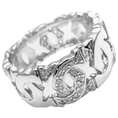 Cartier Diamond Double C Logo White Gold Band Ring