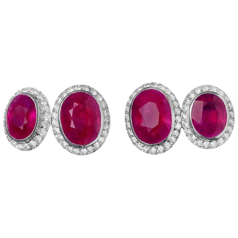 Ruby Diamond Platinum Cufflinks