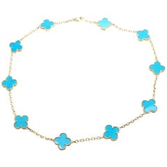 Van Cleef & Arpels Vintage Alhambra Ten Motifs Turquoise Yellow Gold Necklace
