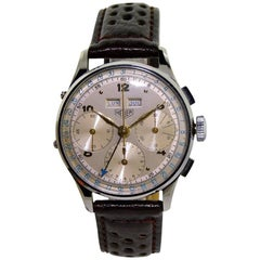 Heuer Stainless Steel Original Dial Triple Date Chronograph Wristwatch