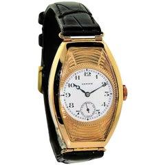 Zenith Yellow Gold Art Deco Large Tonneau Shaped Manual Watch