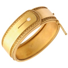 Antique Victorian Gold Cuff Bracelet Diamond Accent, circa 1870