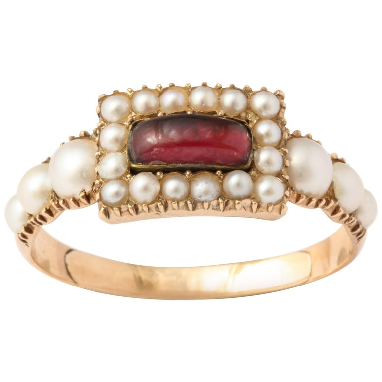 Natural Pearl and Garnet Ring For Sale