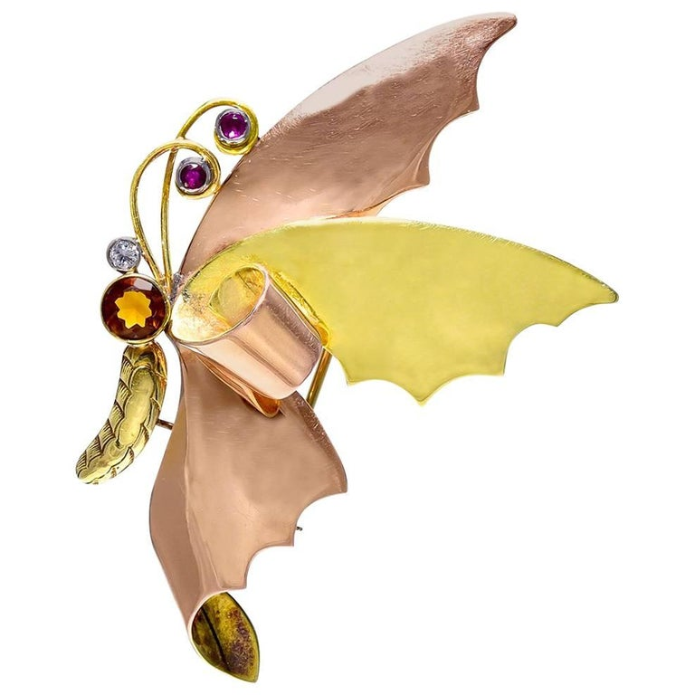 """Two Color Gold and Gem Set """"Butterfly in Flight"""" Brooch by Tiffany & Co."""
