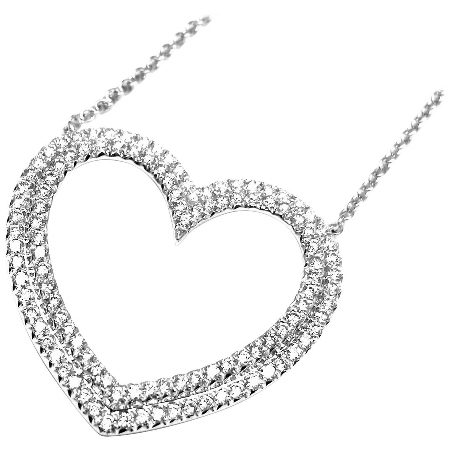 Tiffany and Co Metro Large Heart White Gold Pendant Necklace For