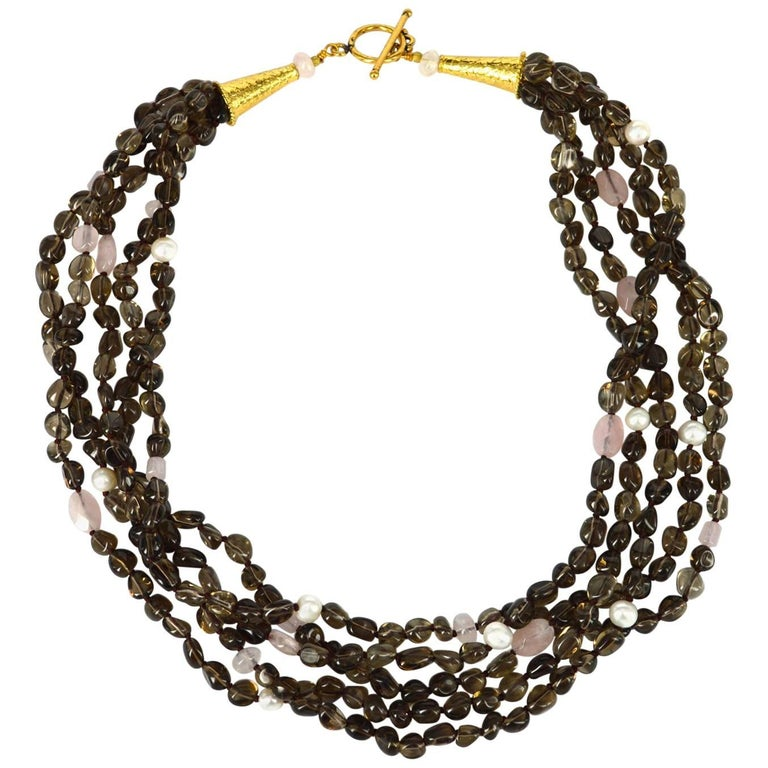 Decadent Jewels Smokey Rose Quartz Pearl Torsade Gold Necklace