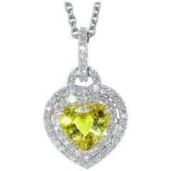 Vivid Yellow Sapphire Heart Pendant Necklace
