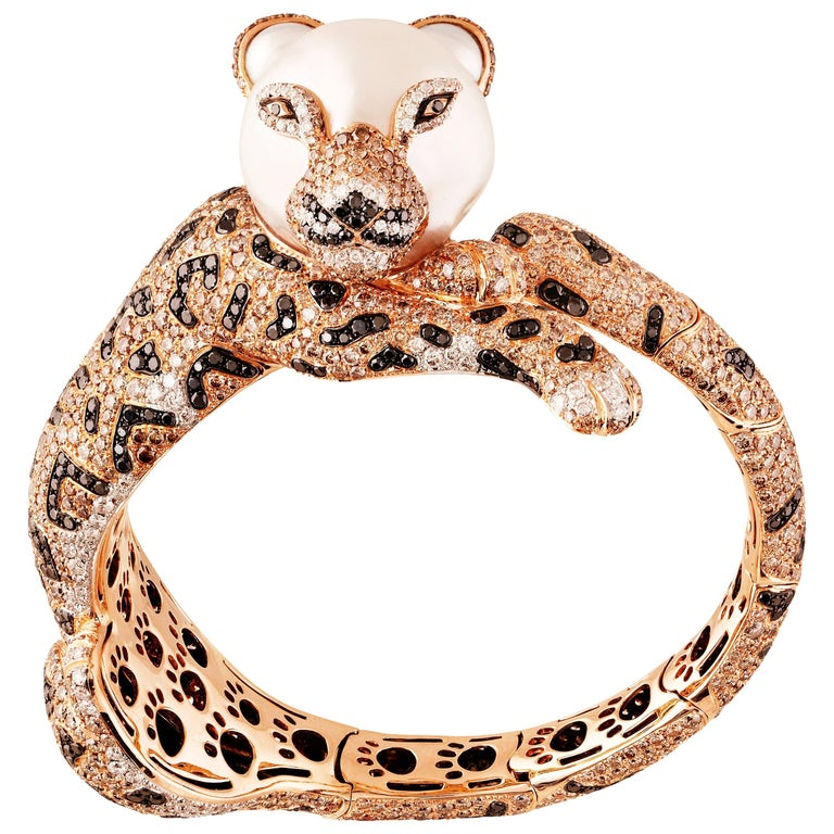 Leopard Brown, Black, White, Diamond and South Sea Pearl Cuff Bracelet