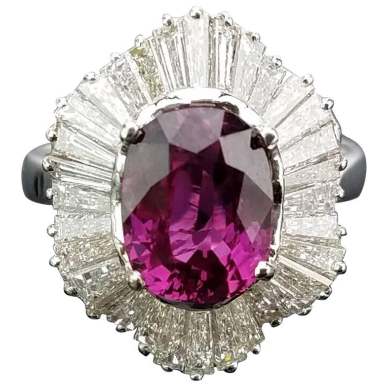 Classic Pink Sapphire and Diamond Art Deco Style Cocktail Ring