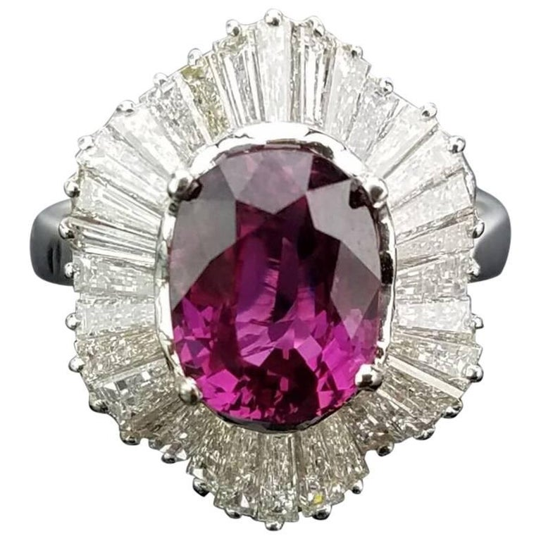 Classic Pink Sapphire and Diamond Art Deco Cocktail Ring