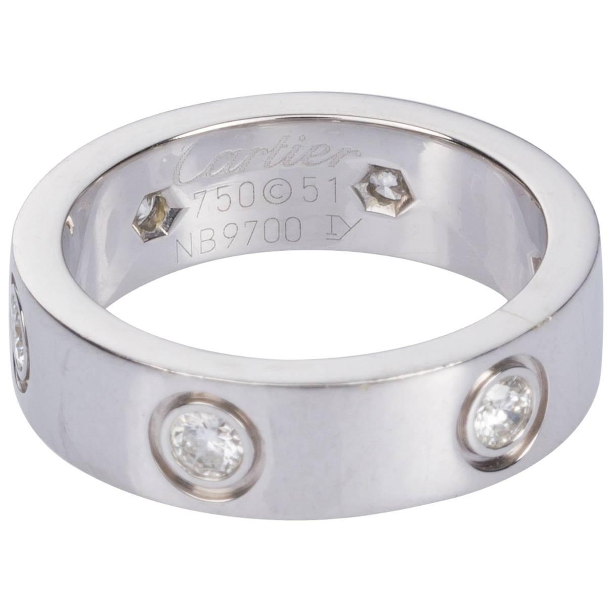 cartier six diamond 18 karat white gold love ring